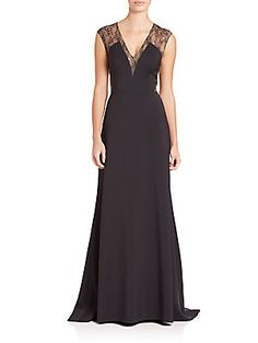Aidan Mattox Lace-Inset Gown