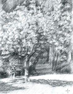 Royal estate 'De Horsten' - 12-04-14 (2014), graphite pencil drawing on paper…