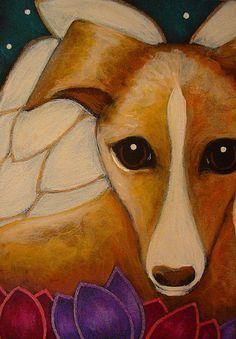 Detail Image for art LOVELY GREYHOUND ANGEL DOG SPRING FLOWERS FROM HEAVEN 1