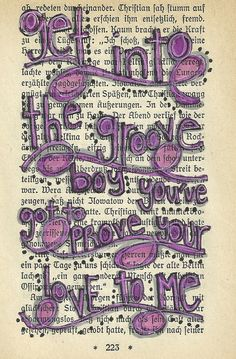 Get into the groove classic Madonna lyrics 4x6 original illustration on a vintage book page