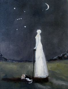 La suma sacerdotisa: beneath orion by Jeanie Tomanek Moonlight Painting, Angel Aesthetic, Moon Art, Artist At Work, Female Art, Art Inspo, Printmaking, Illustrators, Art Drawings