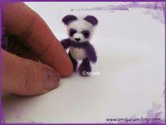 Miniature Purple Panda Crochet Thread Pattern