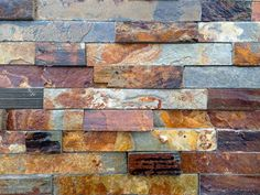 The colors used in this stone would provide detail to the home without getting muddy. It would add interest to the home's structure. I would use it as part of the lower walls and pillars of the home. Tuscan Bathroom, Stone Bathroom, Kitchen Backsplash Peel And Stick, Removable Vinyl Wall Decals, Wall Stickers, Rock Tile, Dry Stack Stone, Slate Fireplace, Living Room Tv Unit Designs