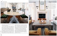 always knew we could use benches at our little round table.  love this inspiration.  #tradhome mag