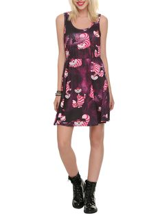 SIZE LARGE, PRIORITY  HIGHER THAN HIGH BUT NOT HIGHEST/// Disney Alice In Wonderland Cheshire Cat Print Dress | Hot Topic