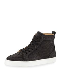 dd460e4add9 Christian Louboutin Mens Rantus Python High-Top Sneakers