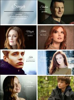 The Singer Family + name meanings. I have never agreed more for a cast in my life than this cast!