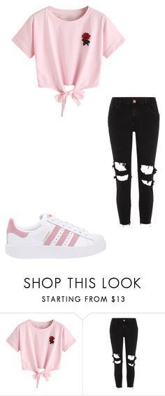 """Untitled #3"" by stogtman on Polyvore featuring WithChic, River Island and adidas Originals"