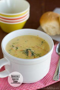 This Broccoli Cheese Soup is a creamy soup made with broccoli, carrots, and plenty of cheese!