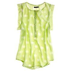 Lime green and polka dots. Madewell silk dotty sunshade top.