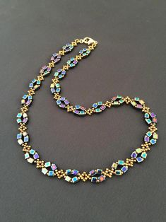 Blue floral beaded necklace Dark navy blue stone Bead woven necklace
