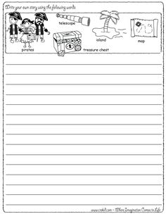 Writing Fun ~ Pirate Theme ~ Write your own story using our writing prompts. We give you five words on our printout sheet and you create a story. First Grade - Second Grade - Third Grade. Get your pens ready & let the fun begin! www.crekid.com