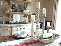 Love that shelving unit! Farmhouse Christmas Home Tour with Seeking Lavender Lane