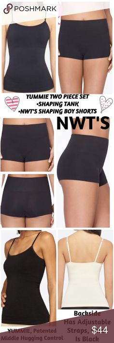 """YUMMIE, NWT'S Boyshorts & NWOT'S  Cami Shapewear Yummie by Heather Thomson, NWT'S Boyfriend Shorts & NWOT'S Amelia Cami Shapewear. Firm smooth hold shapewear is seamless, cami has a bulit in double lined shelf bra. Cami has firm hold below breast, holds in tummy, waist & back on both sides & made of breathable 94% nylon & 6% spandex fabric.✅See last pic for measurements. Length is reg 26"""" with adjustable straps. Take your silhouette from so-so to so shaped with a slimmer & smoother look…"""