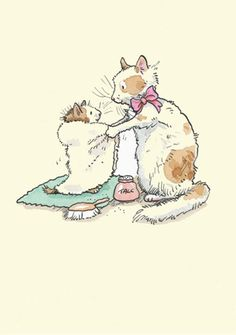 Cute simple cat illustration watercolor, reminds me of Beatrix potter