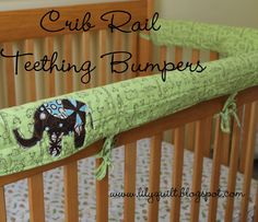 Lilyquilt: Crib Rail Teething Bumpers--Pattern and Tutorial.keep baby's crib bite and teeth mark free while adding a pop of color bumper alternative Crib Rail Guard, Crib Rail Cover, Sewing For Kids, Baby Sewing, Crib Bedding, Bedding Sets, Bumper Pads For Cribs, Crib Bumpers, Diy Crib