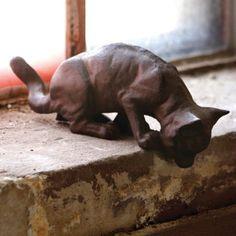Cute! - Cast Iron Rustic Pouncing Cat