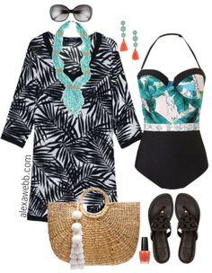 Plus Size Resort Swimsuit Outfit - Plus Size Fashion for Women - Plus Size Swimwear - alexawebb.com #alexawebb