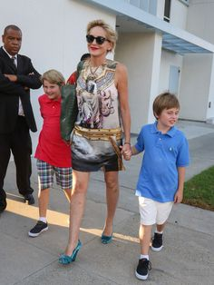 Sharon Stone Photos - Sharon Stone and Her Son Out and About - Zimbio