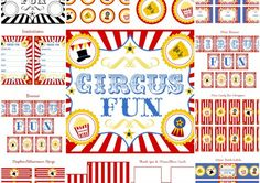 LOVE!!!! FREE CIRCUS PARTY PRINTABLES + Extras! Wish I would have found this when I was doing the boys birthday party.