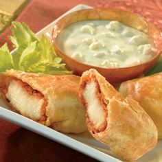 Add some sophistication to Buffalo-style chicken bybaking it in a convenient puff pastry wrapper. Don't forget the celery and blue cheese dressing. Comments