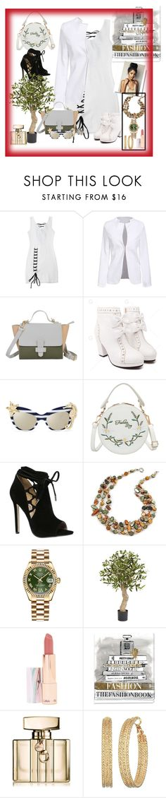 """conley_esperanza-brownshuga"" by conley-esperanzaj1957 ❤ liked on Polyvore featuring Rolex, LAQA & Co., Oliver Gal Artist Co., Gucci and GUESS"
