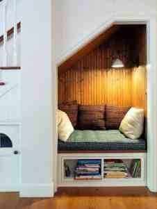 30 Incredibly cozy built-in reading nooks designed for lounging - Angela Home Reading Nook Closet, Reading Nook Kids, Closet Book Nooks, Space Under Stairs, Sleeping Nook, Relax, Cozy Nook, Home Design, Design Ideas