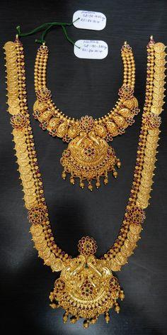 Gold Temple Jewellery, Gold Jewellery Design, Gold Jewelry, Antique Necklace, Gold Necklace, Gold Earrings Designs, Siri, Bridal Jewelry, Bangle