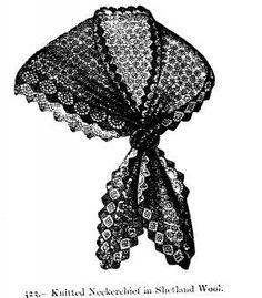 Free victorian neckerchief knitting pattern shetland wool knitted vintage neckerchief in shetland wool dt1010fo