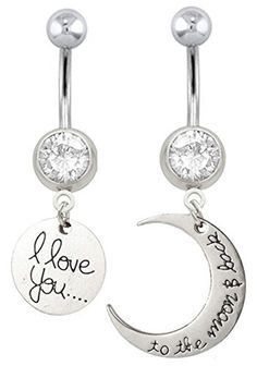 Clear cz I love you & to the moon and back by PlayfulPiercings
