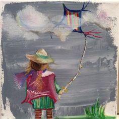 Little girl flying a kite by JJHowardFineArt on Etsy