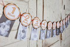 Monthly Photo Banner - 1 through 12 Months Banner - 1st Year Monthly Banner - Baby Monthly Banner - First Birthday Banner - Orange & Black