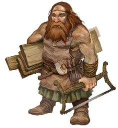 Thirgen, the woodworker. Works mostly on the beams and minecarts. A bit slow-witted and easy-going. Carpenter Dwarf by JonHodgson.deviantart.com on @deviantART