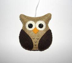 Wool Felt Owl Ornament Felt Owl Brown Owl Baby Shower Gift