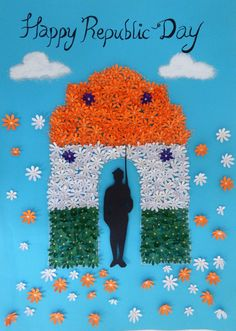 Republic Day Poster in 6 easy steps - Republic Day Craft Ideas by Hobby Ideas Independence Day Activities, Independence Day Decoration, Indian Independence Day, Independence Day Drawing, School Board Decoration, School Decorations, Class Decoration, Room Decorations, Flower Decorations