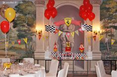 The desert table for this Ferrari themed party... a podium was created to put the cake... Enzo was the name of the birthday boy and 2 his age