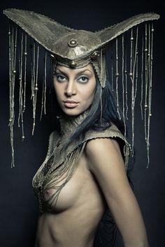 Gregor Laubsch - Queen 4 Tribal Warrior, Dark Beauty Magazine, Warrior Queen, Fringes, Headgear, Headdress, Costume Design, Queens, Stylists