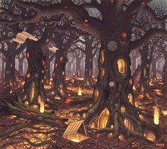 17 pinturas digitales by Jacek Yerka (Surreal Painting) Fantasy Places, Fantasy World, Fantasy Art, Fantasy Forest, Magic Forest, Fantasy Trees, Fantasy House, Art Bizarre, Weird Art