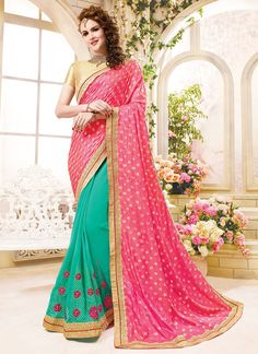 airt silk pink georgette saree for wedding wear