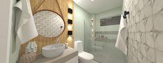 Banheiro Social com ar contemporâneo pelo uso das textura de concreto. O tom de verde menta trás um frescor a composição.