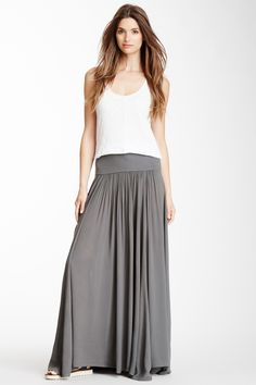Cozy #ThreeDot Pleated Maxi #Skirt. Perfect for the weekend. Great with a tank and a great #jacket.