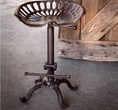 "Cast Iron Tractor Seat Adjustable Stool - dimensions: 18"" x 14"" x 26""-36"" H w/ seat back (adjustable seat height 23"" - 33"") $112"