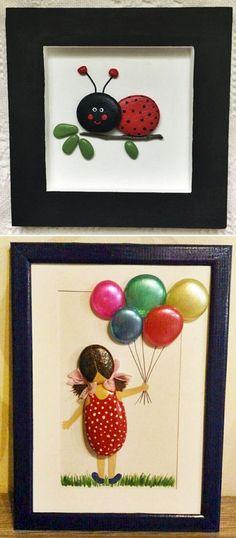 MENTŐÖTLET - kreáció, újrahasznosítás: Egyszerű kavicsképek gyerekszobába Pebble Art, Coasters, Playing Cards, Frame, Crafts, Stones, Home Decor, Stone Crafts, Rock Crafts