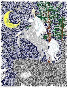 Unicorn by Moonlight, Hand drawn maze. Maze Drawing, Rolling Ball Sculpture, Maze Book, Moonlight, Puzzles, Hand Drawn, Unicorn, How To Draw Hands, Sculptures