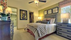 Gorgeous bedroom with continuing color from one wall to the trim and baseboard. #bedroom
