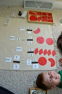 Kal-El used the fraction cut-outs box that I tucked under the fractions cabinet for the first time this week. Diy Montessori Toys, Montessori Homeschool, Montessori Elementary, Montessori Classroom, Elementary Education, Art Education, Homeschooling, Improper Fractions, Teaching Fractions