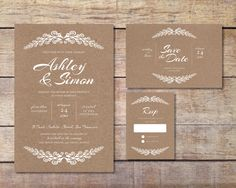 Vintage Wedding Stationary Set - options include: Invitation, RSVP Card and Save the Date Card (Digital Files)