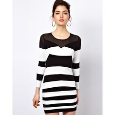 Motel Roxanne Bandage Dress In Monochrome And Mesh ($84) ❤ liked on Polyvore