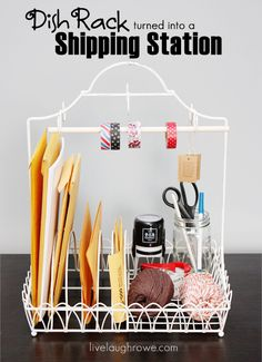 Fabulous Idea! Dish Rack turned into a Shipping Station with livelaughrowe.com #upcycle #diy