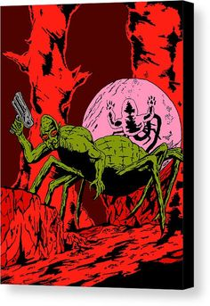 Art Canvas Print featuring the drawing Spider Monster Red Variant by Toby Kernan